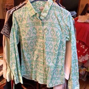 J. Crew Perfect Shirt S Button Down Green Ikat